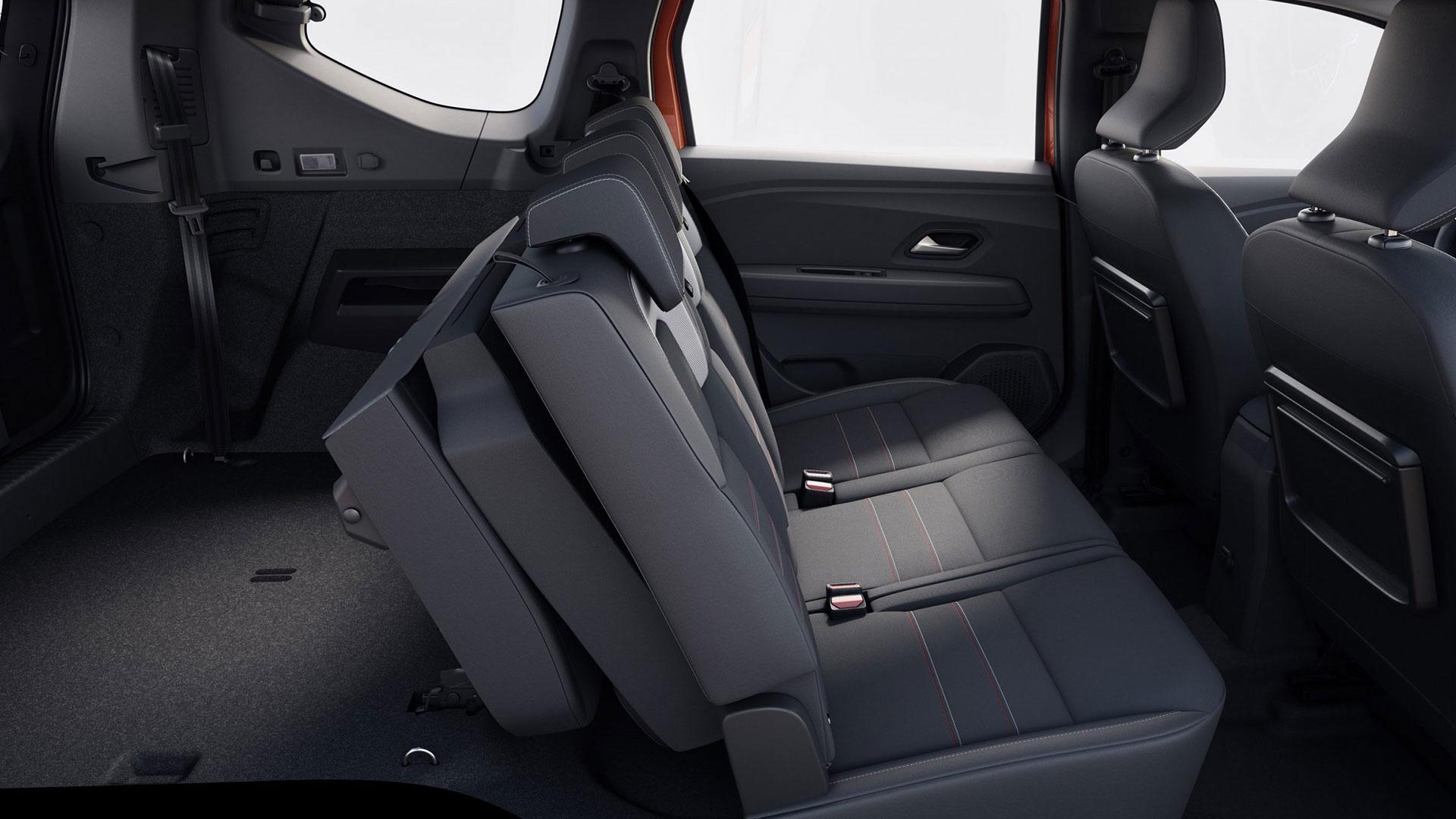 Achterste zitrij opgeklapt Dacia Jogger (2021)