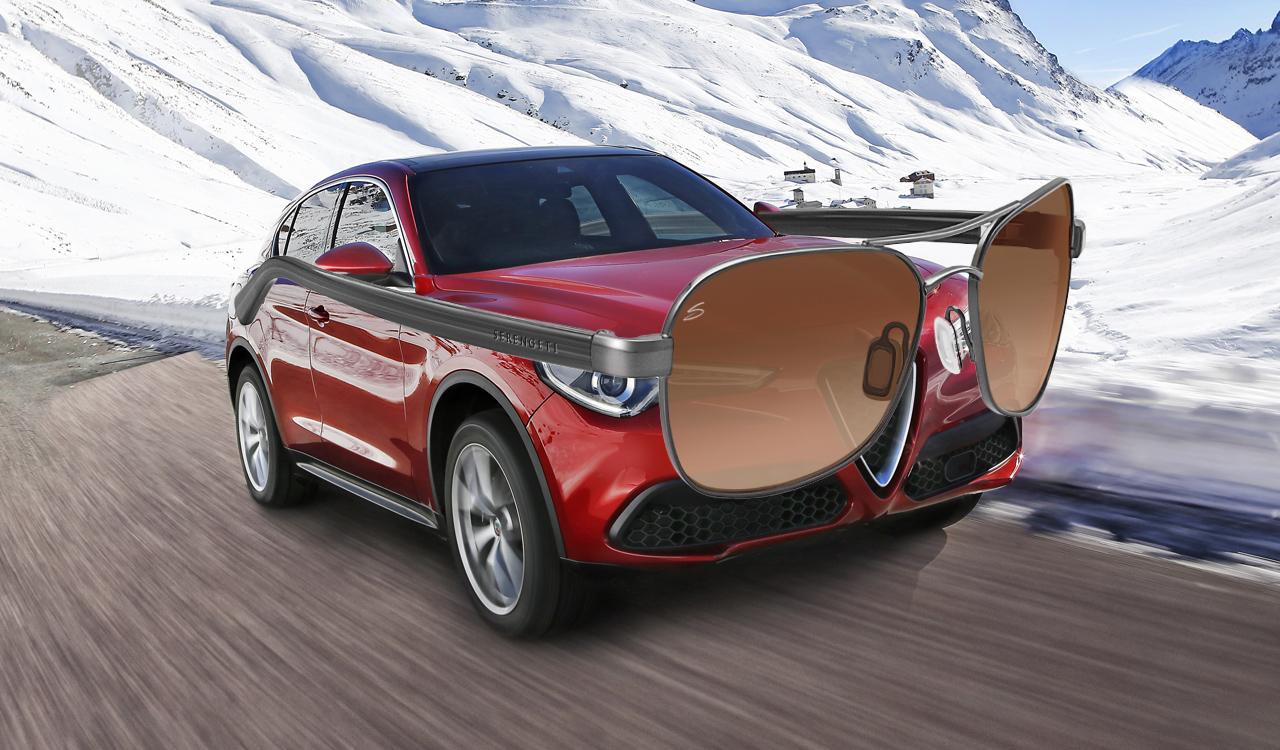 Alfa Romeo Stelvio met Serengeti-zonnebril