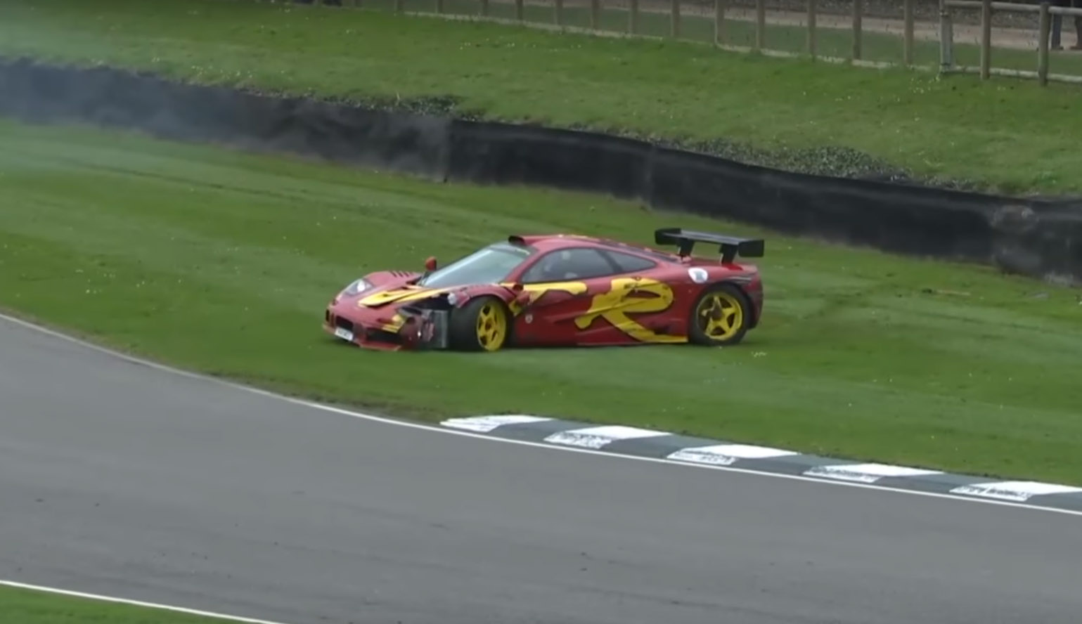 McLaren F1 GTR crash Nick Mason