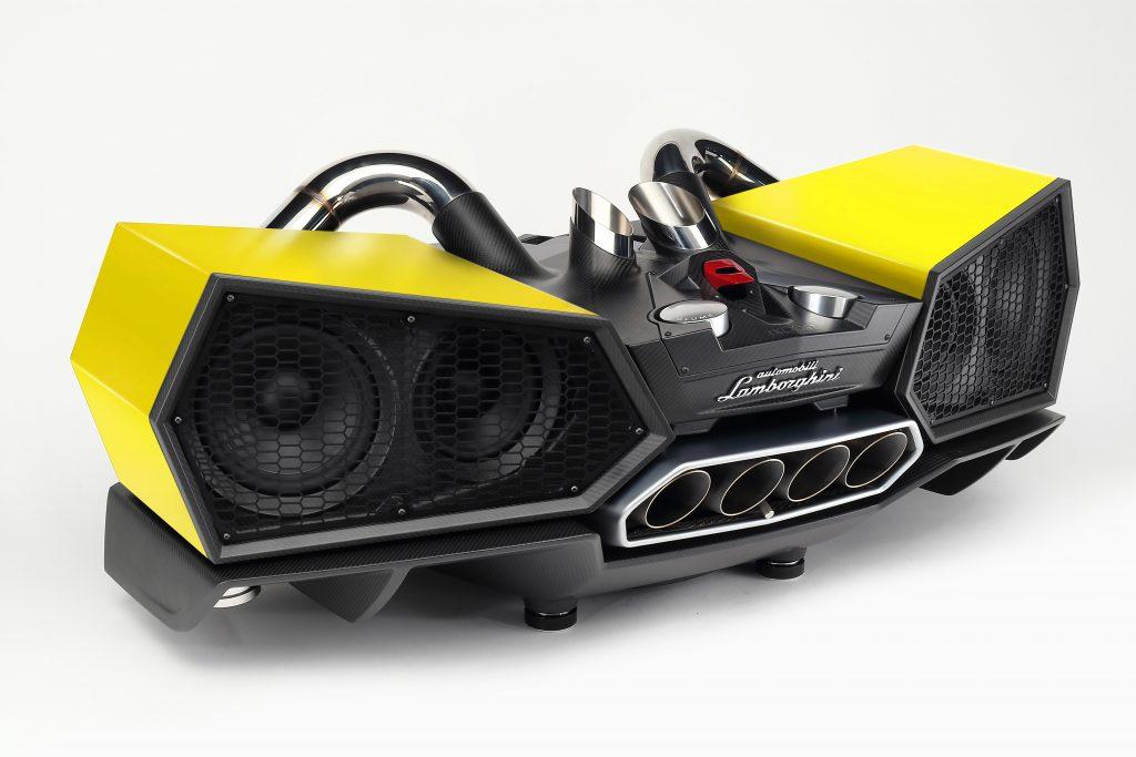 Lamborghini Esavox Carbon Fibre Docking Station Speaker geel