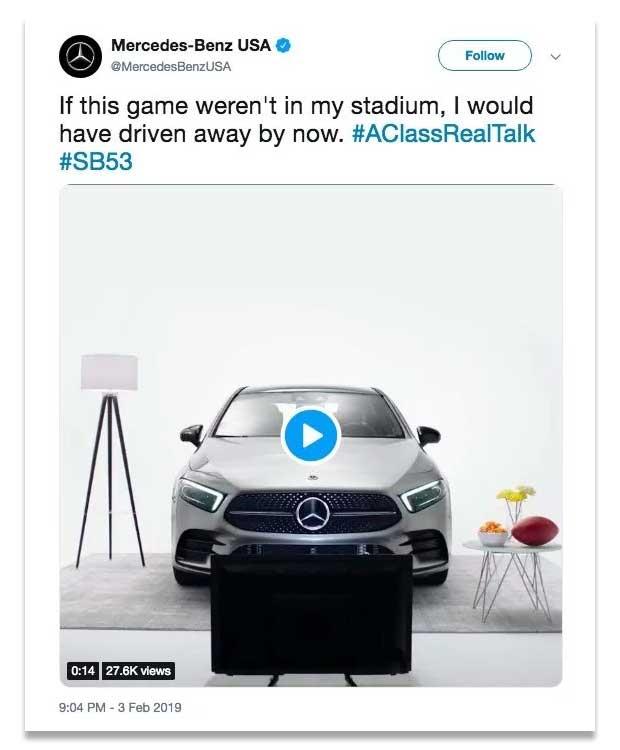 De verwijderde tweet van Mercedes