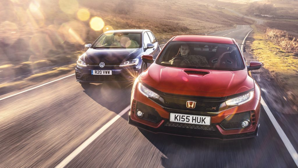 Volkswagen Golf R en Honda Civic Type R
