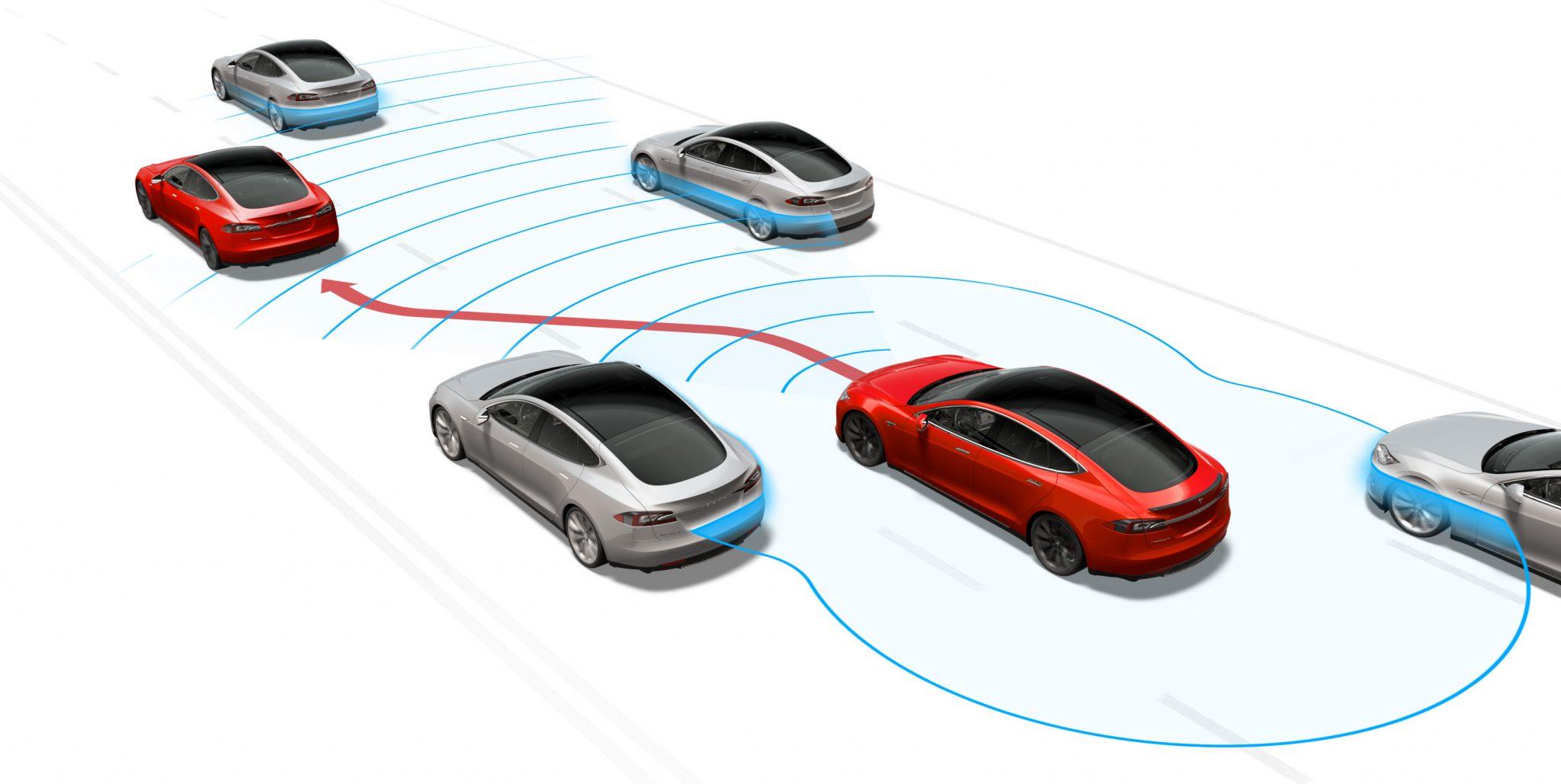 Autonoom rijden gaat niet werken - Tesla Autopilot schema illustratie inhalen