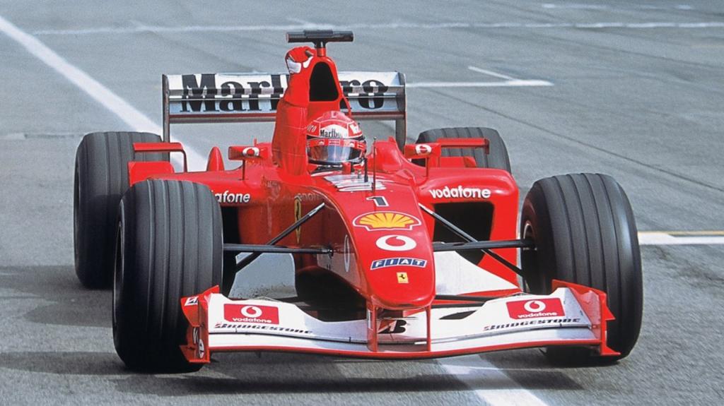 Ferrari F1-auto F2002 dichtbij
