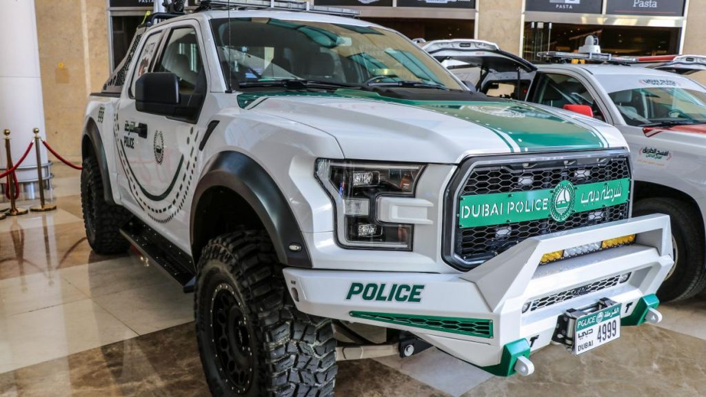 Ford Raptor politieauto in Dubai