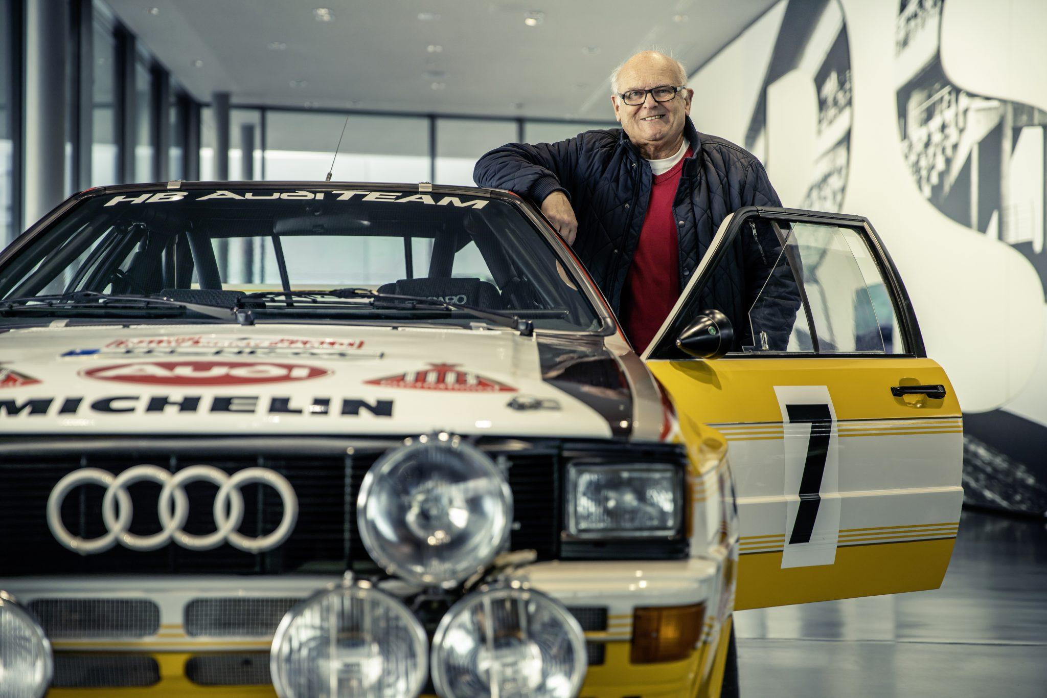 Stig Blomqvist bij de Audi Quattro