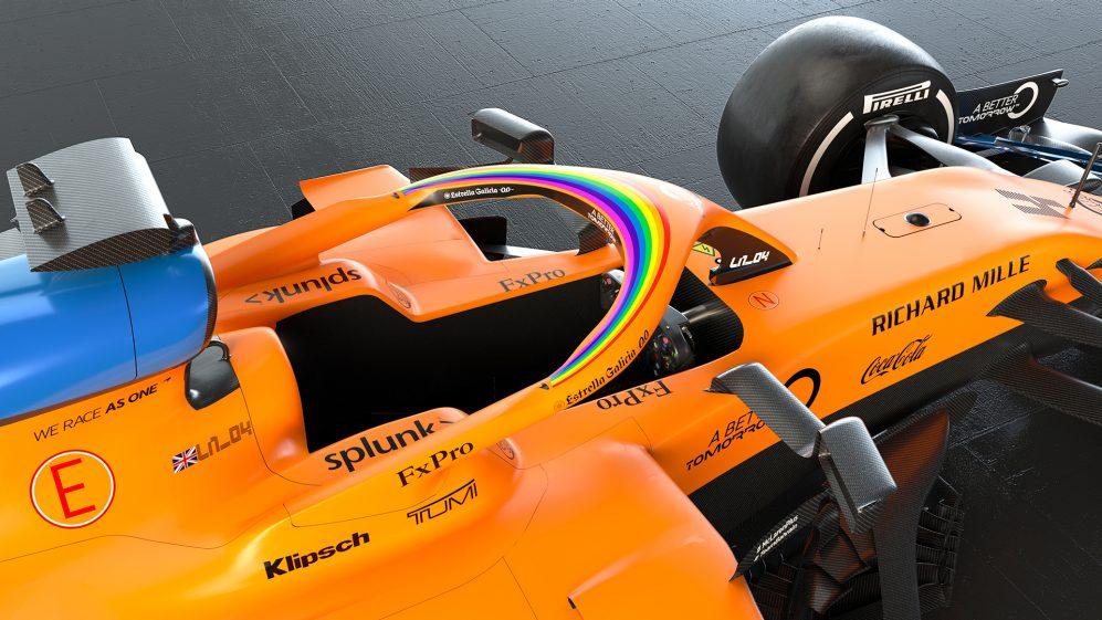 Regenboog op McLaren F1