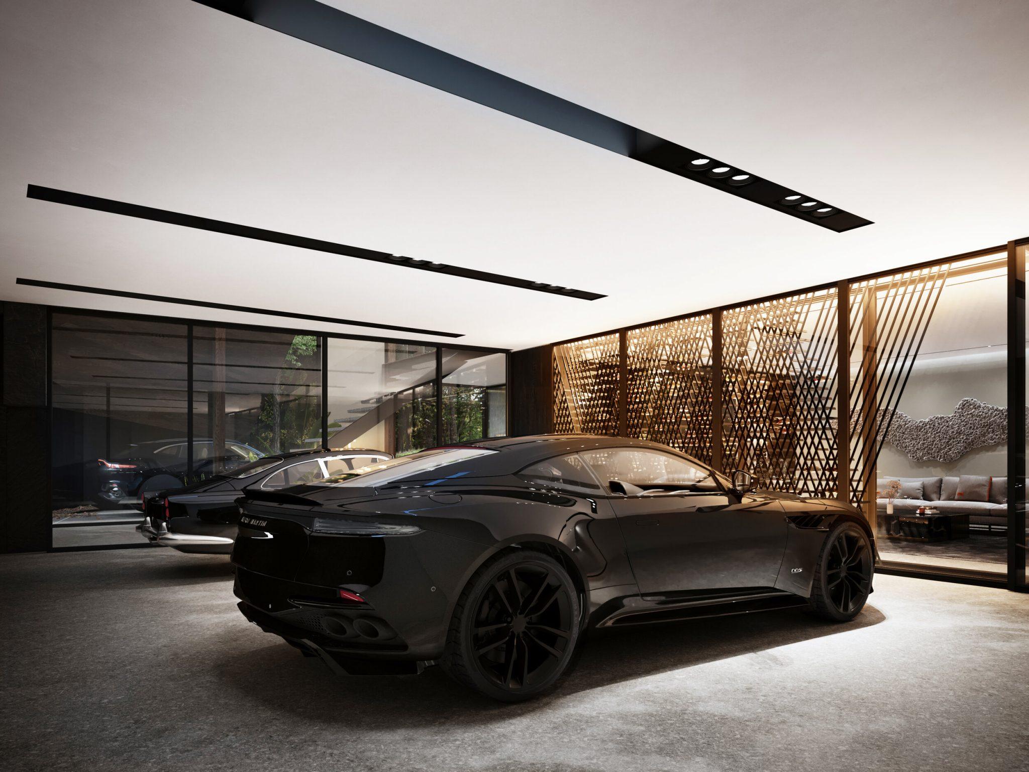 Garage van Aston Martin-huis Sylvan Rock