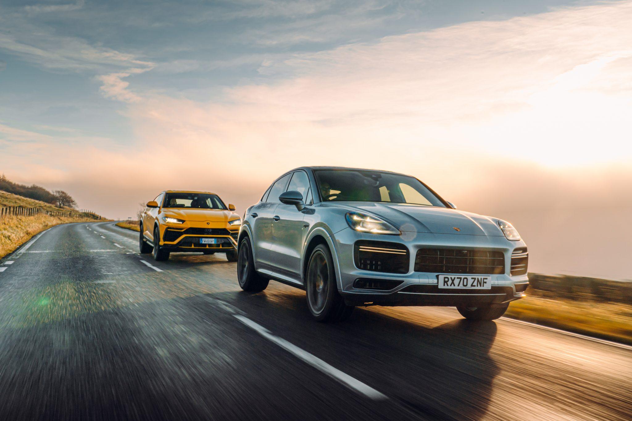 Lamborghini Urus en Porsche Cayenne tTurbo S-E Hybrid