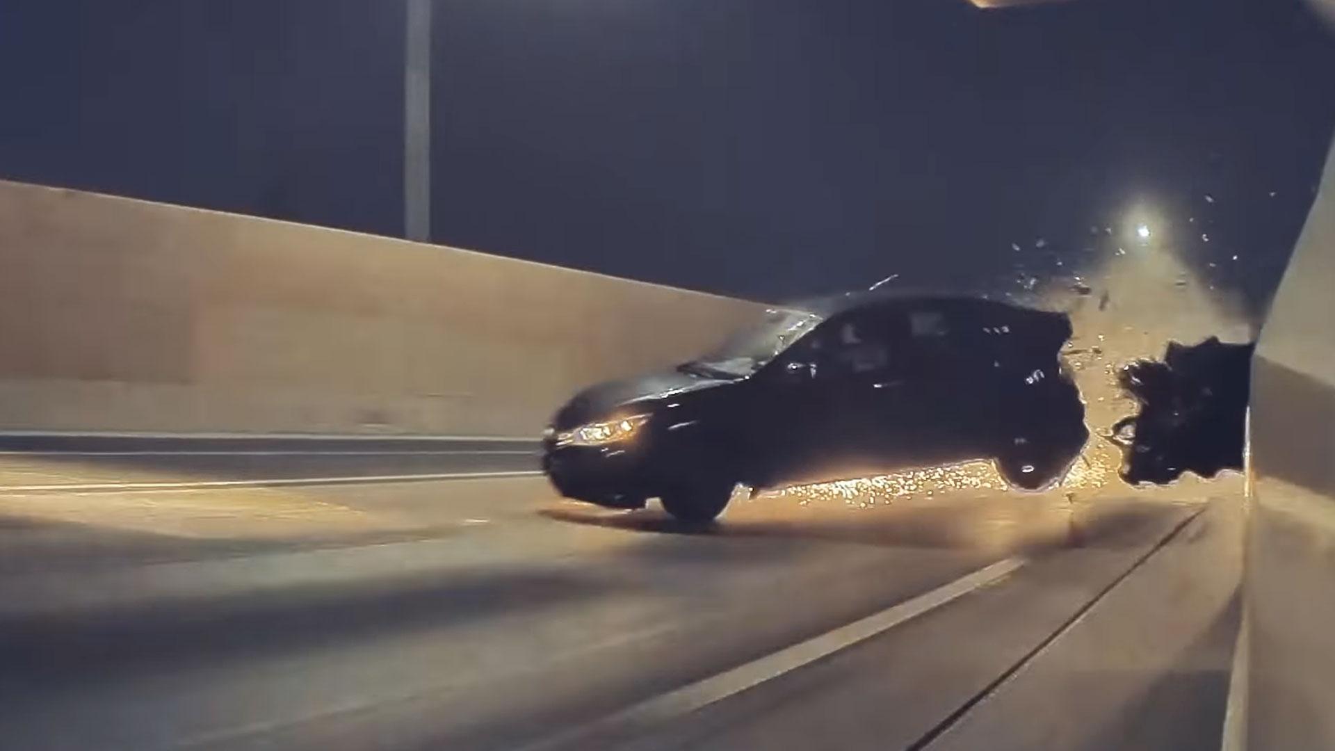 Tesla-dashcam legt loeiharde crash vast