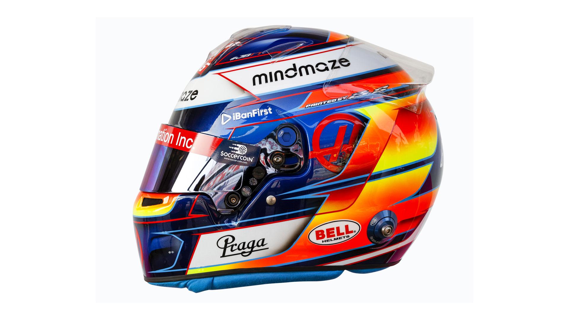 De helm van Romain Grosjean