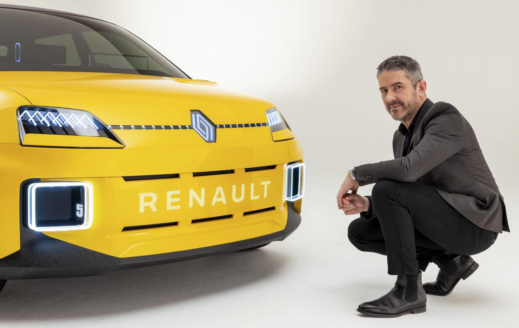 Het nieuwe logo van Renault op de 5 Concept met Gilles Vidal