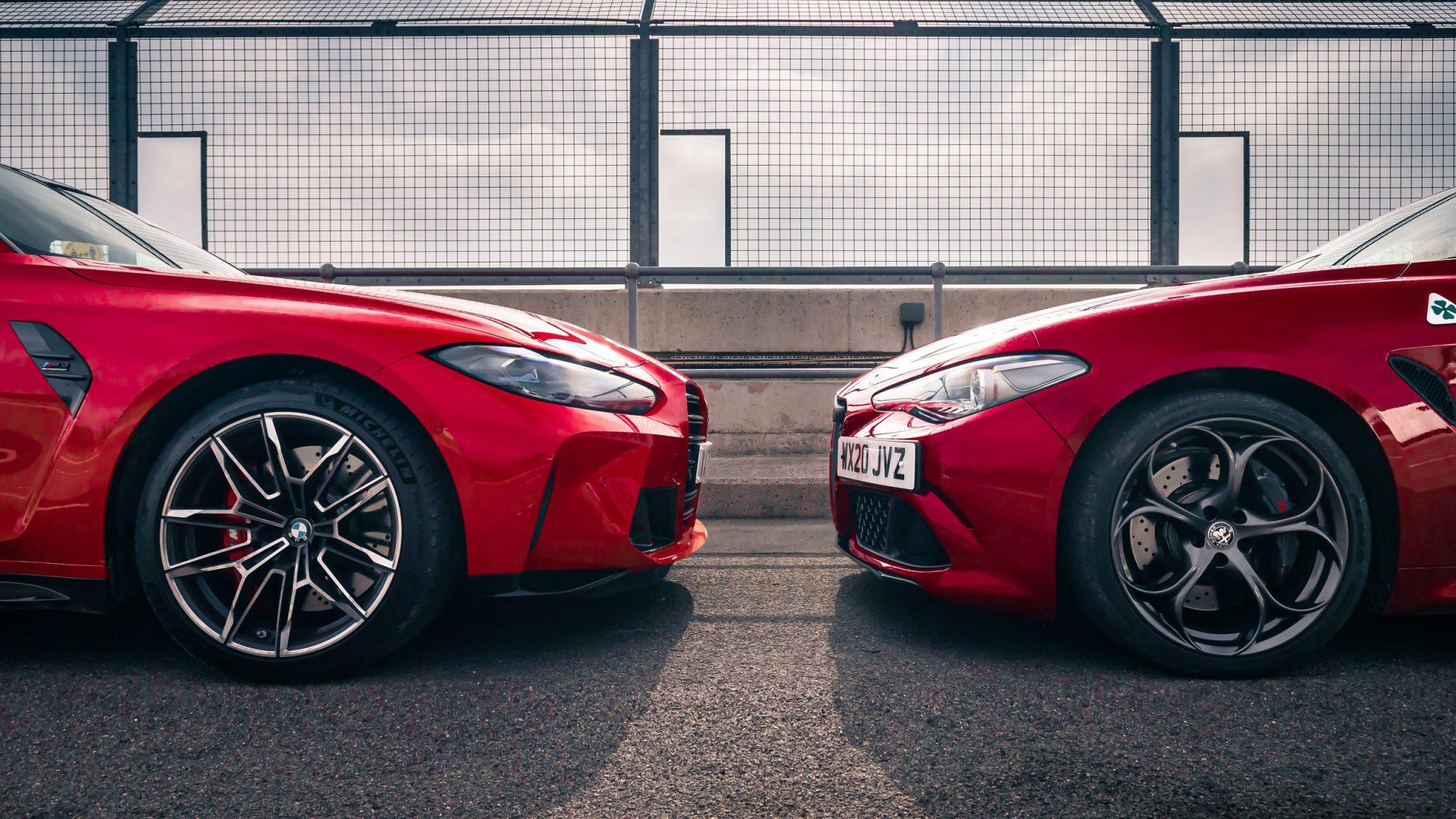 BMW M3 G80 vs Alfa Romeo Giulia Quadrifoglio neus aan neus